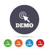Démo avec l'icône de signe de curseur Symbole de démonstration Photographie stock