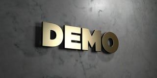 Démo - signe d'or monté sur le mur de marbre brillant - illustration courante gratuite de redevance rendue par 3D Image stock