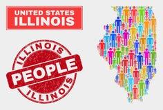 Démographie de population de carte d'état de l'Illinois et joint corrodé de timbre illustration de vecteur