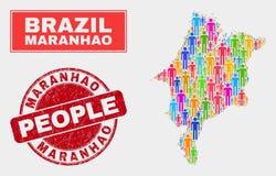 Démographie de population de carte d'état de Maranhao et filigrane corrodé illustration de vecteur