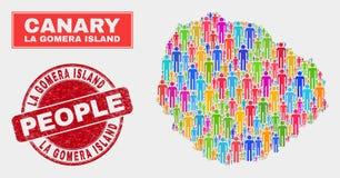 Démographie de population de carte d'île de Gomera de La et joint corrodé illustration de vecteur