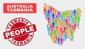 Démographie de population de carte d'île de la Tasmanie et joint corrodé illustration de vecteur