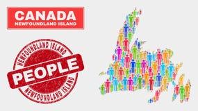 Démographie de population de carte d'île de Terre-Neuve et timbre corrodé illustration de vecteur