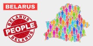 Démographie de population de carte du Belarus et joint corrodé illustration libre de droits