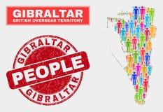 Démographie de population de carte du Gibraltar et joint corrodé de timbre illustration stock