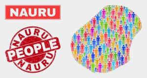Démographie de population de carte du Nauru et joint corrodé de timbre illustration stock