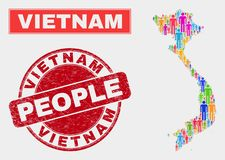 Démographie de population de carte du Vietnam et timbre corrodé illustration stock