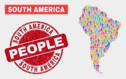 Démographie de population de carte de l'Amérique du Sud et joint corrodé illustration de vecteur