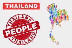 Démographie de population de carte de la Thaïlande et joint corrodé de timbre illustration stock