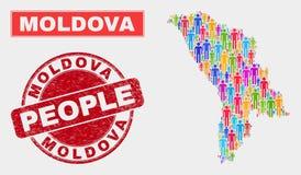 Démographie de population de carte de Moldau et timbre corrodé illustration stock