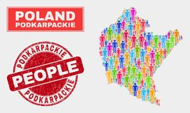 Démographie de population de carte de Podkarpackie Voivodeship et filigrane corrodé illustration libre de droits
