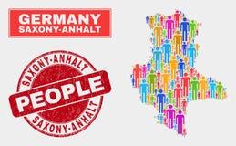 Démographie de population de carte de terre du Saxe-Anhalt et joint corrodé illustration de vecteur