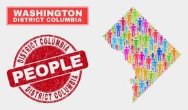 Démographie de Washington District Columbia Map Population et timbre rayé illustration stock