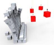 Démolition de mur montrant l'impact et la destruction illustration libre de droits