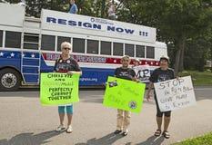 Démonstrateurs contre Christie comme il déclare pour la présidence Photo libre de droits