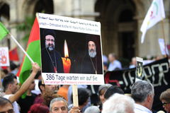 Démonstration contre des persécutions et des atrocités en Irak Image libre de droits