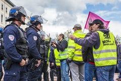 Démonstration contre le gouvernement français et la La de travail prévue Images stock