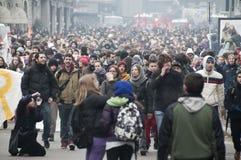 Démonstration d'étudiant à Milan le 14 décembre 2010 images libres de droits