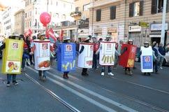 Démonstration des syndicats à Rome Photo stock