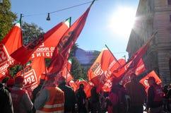 Démonstration des syndicats à Rome Image stock