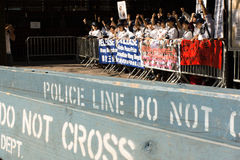 Démonstration du parti démocratique de la Chine pour libérer Wang Bingzhang, Liu Xiaobo Image stock
