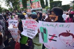 Démonstrations anti Ahok à Semarang Images libres de droits