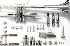 A démonté la trompette argentée Photo libre de droits