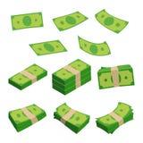 Dénomination monétaire, différentes piles d'argent Dollars d'isolement sur le blanc Illustrations de vecteur réglées Photo stock