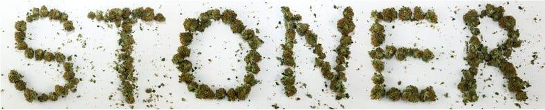 Dénoyauteur écrit avec la marijuana Photo libre de droits