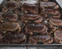 Dépôt de crabe sur la stalle de poissonnerie Image stock