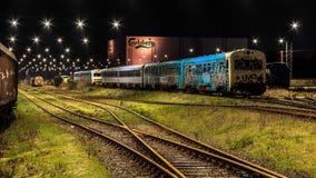 Dépôt de train chez Fredericia, Danemark Image stock