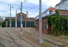 Dépôt de tram Photo stock