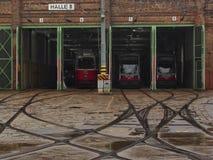 Dépôt de tram dans Wien Photographie stock libre de droits