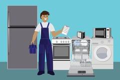 Dépanneur, lave-vaisselle de réparation principal avec le tournevis dans la cuisine Illustration de vecteur plat illustration stock