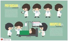 Département de personnage de dessin animé et d'hospitalisé de docteur dans l'hôpital Vecteur Conception plate illustration libre de droits
