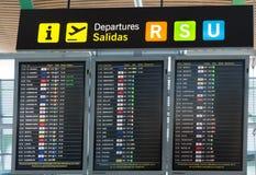 Départs de conseil dans l'aéroport de Madrid Barajas Photographie stock libre de droits