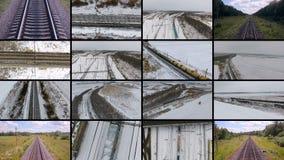 Dépassement de récipients de cargaison de Multiscrenn Concept de la livraison de trains de fret aérien banque de vidéos