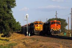 Dépassement des trains Photo stock