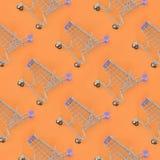 Dépendance de achat, amant de achat ou concept shopaholic Beaucoup de petits caddies vides exécutent un modèle sur un en pastel c photo stock