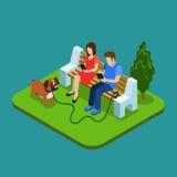 Dépendance sociale de media Jeunes couples en parc avec des smartphones concept isométrique des personnes 3d illustration de vecteur