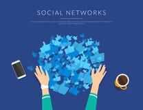 Dépendance sociale de media pour rassembler beaucoup de goûts des profils publics illustration stock