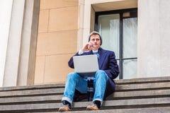 Déplacement américain d'étudiant universitaire, fonctionnant à New York Image libre de droits