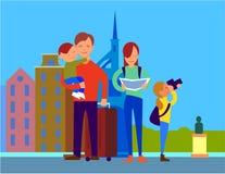 Déplacement avec le concept coloré de conception plate de famille illustration libre de droits