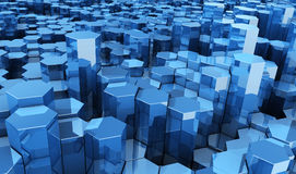 Déplacement d'entreprise de fond d'hexagones bleus Photos stock