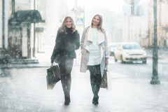 Déplacement de deux amies de femmes Photos stock