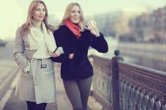 Déplacement de deux amies de femmes Image libre de droits