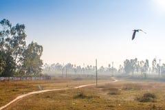 Déplacement par chemin de fer dans l'Inde Vue d'une porte ouverte de train Photos libres de droits
