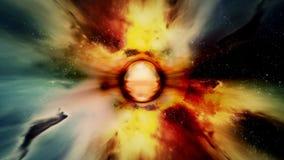 Déplacement par des gisements et des galaxies d'étoile dans l'espace - horizon d'événement 0203 HD illustration stock