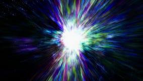 Déplacement par des gisements et des galaxies d'étoile dans l'espace lointain illustration de vecteur
