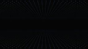 Déplacement par le trellis abstrait de matrice de point de fractale La place infinie mobile a tordu le tunnel des fusées brillant illustration de vecteur